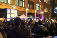 2017 HBC Christmas Window Reveal (wyliepoon) Tags: downtown toronto eaton centre shopping mall store yonge street hbc hudson queen west bay department holiday christmas window decoration night light pentatonix