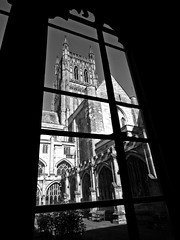 View from the cloisters (llocin) Tags: church cathedral faith religion architecture blackandwhite bw monochrome window