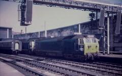 Extreme restoration (Nodding Pig) Tags: carlisle railway station train cumbria england greatbritain uk 1973 class50 dieselelectric locomotive englishelectric type4 402 417 50002 50017 britishrail londonmidlandregion film scan transparency 35mm d20r101 kodachrome