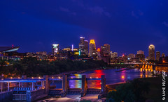 Moody Minneapolis (lpvisuals.com) Tags: red blue city downtown cityscape minneapolis minnesota usa 2017 bold north super bowl superbowl lii 52 night long exposure skyline dusk capella tower us bank stadium ids wells fargo east town target center field united northeast after sunset architecture hour buildings cloud clouds dark digital dynamic hdr high range resolution illuminated lights low light time outdoor panorama sky skyscraper sony alpha a7 trees urban landscape water waterfront