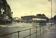 East Kent Skyways  coach in Lewisham flood 1968. (Ledlon89) Tags: lewisham london southeastlondon 1968 1960s transport flood water rain weather quaggy riverquaggy lee buses coach emaster