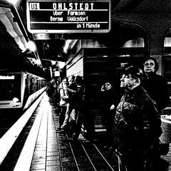 the waiting man (j.p.yef) Tags: peterfey jpyef yef germany hamburg traffic subway ubahn people menschen man men bw sw monochrome square photomanipulation bestportraitsaoi