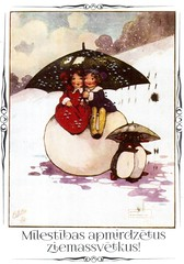 Postcrossing LV-280337 (booboo_babies) Tags: christmas winter cute latvia latvian umbrellas snow girls penguin postcrossing