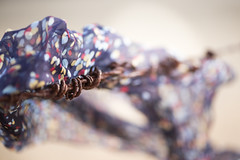 'Wind-blown' (Amy Maher) Tags: texture macro wind rust barbwire barb fence scarf rhymeswithstone blown windblown