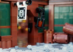 Captain Whiffo's Duel... (Robert4168/Garmadon) Tags: lego brethrenofthebrickseas eslandola inn tavern port wilks captainwhiffo duel tale story minifigure minifigures dark green brown black red alllego scene