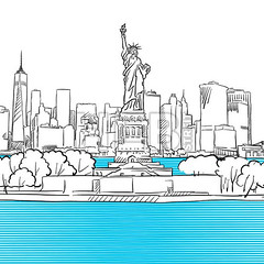 Liberty Statue with New York City Skyline Sketch (Hebstreits) Tags: america architecture blue business city cityscape famous freedom historical hudson illustration invitation island lady landmark liberty manhattan monument national new nyc outline river sketch sky skyline statue symbol tourism tower travel united urban usa vector york