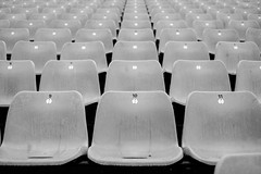 Grandstand (That James) Tags: grandstand stand brands hatch motor racing motorracing brandshatch racingcars driving spectators empty home seats numbered numbers symmetry blackandwhite circuit kent england seating chairs benches supporters stadium arena