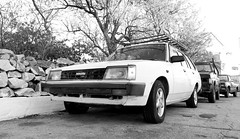 Toyota Oldie (roomman) Tags: 2017 greece peloponnes south peninsula landscape nature remote island far away trip journey car auto transport transportation automobile toyota 1980 1980s corolla classic oltimer oldtimer old white colour form follows function japan japanese collection bw black monochrome contrast grey greyscale aeropoli