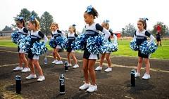 Cheering in Molalla (pete4ducks) Tags: 2017 football cheer cheerleading cheerleaders mountainsidemavericks oregon molalla on1pics kids girls children sonyalpha mirrorless raw cropped school mady madelyn blue sky mavs 500views