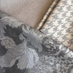 printed-fabric-by-Paisley-Power-with-woven-lining-fabric-from-Berwick-Street-London (Paisley Pat) Tags: silver screenprint ink butterfly houndstooth dogtooth woven handprinted design designer fabric print textile decor furnishing surfacepattern textiledesign homefurnishing furnishingfabric japanese historic