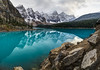 Moraine Lake Panorama (haas.evan) Tags: purple morainelake canada reflection clouds sunset snow tree forest