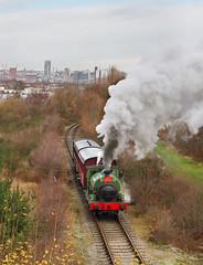 The Old And New In South Leeds. (Neil Harvey 156) Tags: steam steamloco steamengine steamrailway railway sloughestatesno3 middletonrailway middleton hunslet leeds santaspecial tankengine saddletank hudswellclarke1544 hudswellclarke