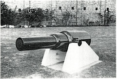 Black and White Photograph of Fort Lytton, Brisbane - Plate 114. An 80lb RML gun. (Queensland State Archives) Tags: brisbane fortlytton military encampment queensland historicbuildings 80lbrmlgun lytton defence wall