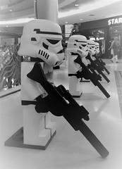 little stormtroopers (SM Tham) Tags: asia southeastasia malaysia selangor sunwaypyramid shoppingmall building interior starwars lego display christmas2016 stormtroopers guns weapons blackandwhite monochrome