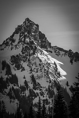 Pinnacle (writing with light 2422 (Not Pro)) Tags: pinnaclepeak tatooshmountainrange mountrainiernationalpark blackandwhite bw monochrome mountain peak sonya77 snow richborder vertical