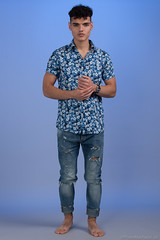 Mushraf (PhotoMechanic.uk) Tags: male man guy teen boy dude youth model pose photoshoot studio blue jeans shirt fashion trendy casual stand standing