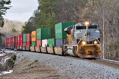 NS 223 at Rockmart, GA (KD Rail Photography) Tags: ns norfolksouthern unionpacific unionpacificheritageunit up up1989 upheritageunit emd progressrail sd70ace intermodal intermodaltransportation doublestack stacktrain container trains railroads transportation mountain mountainrailroading mountains fallseason farmcountry smalltown smalltownusa freighttrains overcastmorning overcast cloudydays cloudyweather cloudy
