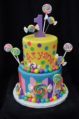 Candy themed birthday cake (jennywenny) Tags: candy lollipop cake stripes polka dots bright colors first birthday