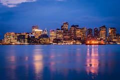 Skyline of Boston (Chen Yiming) Tags: boston massachusetts skyline downtown city cityscape urban harbor ocean sea atlantic dusk