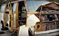 Vultures (Dave* Seven One) Tags: mopar dodge tradesman van sportsman bvan firstgeneration rusty rust rot decay broken pickedapart junkyard classic vintage 1970s