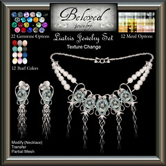 Beloved Jewelry: Liatris Set (Texture Change Earrings and Necklace) (Kimbra McMillan) Tags: belovedjewelry gemstonejewellery pearlnecklace secondlife jewelryset gold silver diamond