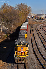 """Westbound Transfer in Kansas City, MO (""""Righteous"""" Grant G.) Tags: up union pacific railroad railway locomotive emd power yard west westbound transfer freight kansas city missouri"""