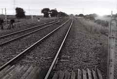 10 Railway, Kellingley Colliery (I ♥ Minox) Tags: film 2017 om1 om1n olympus olympusom1 olympusom1n hp5 ilfordhp5plus ilford 400asa yorkshire blackandwhite monochrome om1033 kellingley kellingleycolliery knottingley mining mine colliery westyorkshire