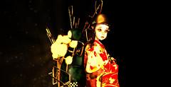 Spotlights Warming My Heart (☺ ChimKami ☺ Rushing In Slow Motion !) Tags: portrait humanity epic feelings shadow virtual digitalart artwork art photography secondlife sl 3d metaverse chim chimkami emotion surrealist night explore mesh photoshop light dream scene imagination creativity design awesome stylish weird fantasie tale fantasy exploring materials red yellow monochrome color gold expression closeup bigeyes bread portrature artportrait digitalportrait reflection introspection manga asian kawaii japan cute kimono motorcycle scooter projector headlight particles fireworks toon child childhood helmet motorbike kurenai elf magical