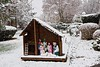 Snowing! (ineedathis, Everyday I get up, it's a great day!) Tags: nativity christmas2017 angel snow trees birdhouse manger christmasdecorations nikond750 lawn azaleas bushes dwarfbluespruce norwaybluespruce japanesemaple snowflakes autumn