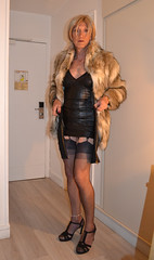 DSC_0010r (magda-liebe) Tags: paris travesti crossdresser clubbing french fullyfashionedstockings tgirl highheels outgoing shoes minidress stockings skirt fur cervin coat woman blonde femme female