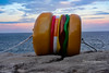 Hooked Burger (1DesertRose) Tags: event walk season dusk cool spring layers sunset sunsetting hook art sculpture australia sydney bondi rocks water scene beach colourful color colours burger