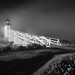 Points of Light in the Night (Gwen 's) Tags: flagged marshallpointlighthouseportclydemaine mystical gloamingnocturne blackandwhite bwphotography gwensylvester