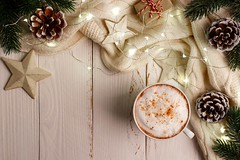 hot winter coffee (altextravel) Tags: christmas background design abstract tree frame retro border pattern vintage coffee ornament texture nature wish list cane box pine deer snow flake winter holiday wooden fir copy space xmas year new rustic table top above desk lay decorations greeting stocking overhead view schedule planning blank card flat ball ribbon