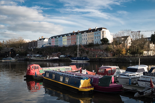 Coloured Houses of Redcliff Parade overlook Bristol Harbour