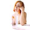 goldfish (Cristina Seijas) Tags: goldfish pez peces dorado gold naranja orange girl chica cristina yo me myself amarillo yellow vaso glass cristal blanco white face cara mirada look eyes ojos beauty belleza pastel