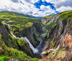 One more waterfall (languitar) Tags: norway vøringsfossen hdr waterfall river photography water mountains sky panorama colorefex4 valley hugin clouds colorefex kingdomofnorway nikcolorefex norge hordaland no