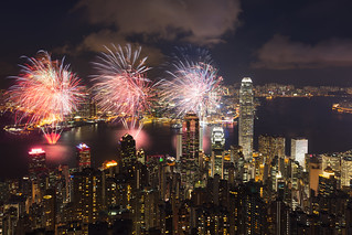 Victoria Harbour with fireworks, Victoria peak Hong Kong China