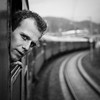 The passenger (Michael Erhardsson) Tags: passenger black white man train window travel 1x1 square