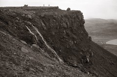 On the roof (efo) Tags: bw iceland film minox 35ml djupavik mountain waterfall people