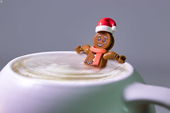 Dunk Me (Jezbags) Tags: lego christmas gingerbread man dip latte legos toy toys macro macrophotography macrodreams macrolego canon 80d canon80d relax drink santa hat happy chill