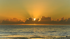 Sunrise Seascape with Sun Rays (Merrillie) Tags: daybreak rockshelf landscape nature rocky mountains crepuscularrays horizon sunrise centralcoast newsouthwales sea water nsw sky shoreline ocean photography dawn waterscape coastal rocks outdoors brokenbay australia coast seascape pearlbeach