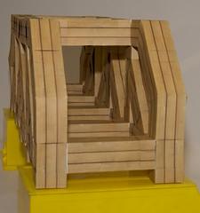 Modular origami truss bridge, longitudinal view (ISO_rigami) Tags: modular origami a4 zebra truss bridge 3d paper construction