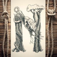 Nameleon (reXraXon) Tags: art artwork pencilart drawing handdrawing sketch pencilsketch typography lettering handlettering letteringart chameleon tree