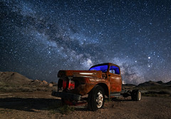 Rhyolite Truck (Rustic Lens Photography) Tags: california travel desert landscape rhyolite nevada ghost town truck rust red light blue stars milky way long exposure rokinon 14mm 28
