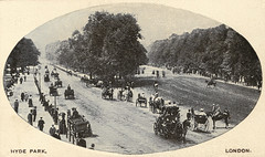 Hyde Park - Rotten Row (pepandtim) Tags: postcard old early nostalgia nostalgic hyde park rotten row broad track south side london william avenue oil lamps 1690 artificially lit highway uk tumbledown cottages rats raton upper class weekend evenings midday finest clothes horseback carriage drive society people carriages bridleway horses household cavalry barracks knightsbridge exercise 20071982 1982 ira car bomb remote control queen life guard 1894 44hpr98