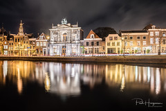 Teylers museum w/ reflection @ Haarlem (PaulHoo) Tags: evening night nightphotography nikon d750 wideangle city urban neon light sky clouds longexposure building architecture haarlem holland netherlands 2017 cityscape reflection teylers museum church spaarne