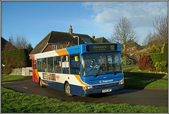 34644, Welton Road (Jason 87030) Tags: weltonroad rugby daventry northampton d2 34644 gx54dwp red blue white orange slf pointer dennis dart driver light roadside village braunston bus transport sunny december 2017 fetish council camera strap lens off brightness tree bare roof amateur year image great capture photostream upload load bush bungalow grass