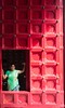 Red Door portrait (Kostas Trovas) Tags: portrait composition smile window ruleofthirds dress saree canon pose red streetphotography looking lowkey indian woman hindu india door journey mumbai natural green travel selectionfromindiatrip temple traditional