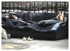 and ... relax! (The Stig 2009) Tags: nikon candid street beggar homeless no shoes bare feet man sofa france paris thestig2009 thestig stig 2009 2017 tony o tonyo
