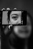 Selfie (Marie-Baeten) Tags: selfie portrait canon 70d eos blur black white grey gray phone photo picture photograph contrast nokia iso 800 85mm iso800 f18 prime lens 1200 lightroom